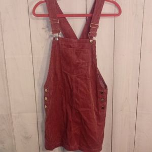 Pink corduroy overall jumper dress size s